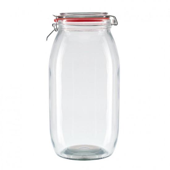 Borcan depozitare din sticla cu capac, 5000 ml Inel de silicon✔️