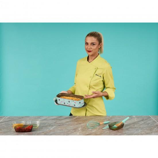 Tava chec/cozonac cu baza detasabila Cooking by Heinner Simona Pope, 31 x 12 x 8 cm, forma dreptunghiulara, material otel, negru/turcoaz
